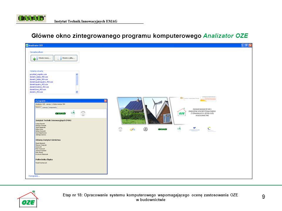 9 Etap nr 18: Opracowanie systemu komputerowego wspomagającego ocenę zastosowania OZE w budownictwie Główne okno zintegrowanego programu komputerowego Analizator OZE