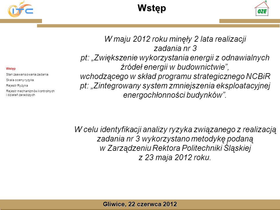 Gliwice, Lipiec 2008 Wstęp Gliwice, 22 czerwca 2012 Wstęp Stan zaawansowania zadania Skala oceny ryzyka Rejestr Ryzyka Rejestr mechanizmów kontrolnych