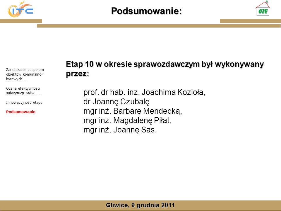 Gliwice, Lipiec 2008 Podsumowanie: Gliwice, 9 grudnia 2011 Etap 10 w okresie sprawozdawczym był wykonywany przez: prof.