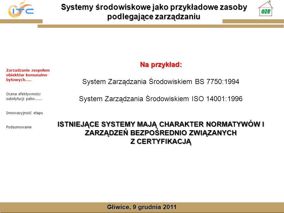 Gliwice, Lipiec 2008 Systemy środowiskowe jako przykładowe zasoby podlegające zarządzaniu Gliwice, 9 grudnia 2011 Na przykład: System Zarządzania Środowiskiem BS 7750:1994 System Zarządzania Środowiskiem ISO 14001:1996 ISTNIEJĄCE SYSTEMY MAJĄ CHARAKTER NORMATYWÓW I ZARZĄDZEŃ BEZPOŚREDNIO ZWIĄZANYCH Z CERTYFIKACJĄ Zarzadzanie zespołem obiektów komunalno- bytowych…..