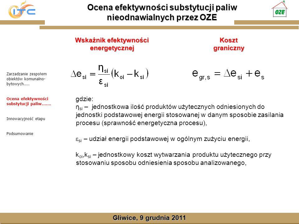Gliwice, Lipiec 2008 Ocena efektywności substytucji paliw nieodnawialnych przez OZE Gliwice, 9 grudnia 2011 Wskaźnik efektywności energetycznej Zarzadzanie zespołem obiektów komunalno- bytowych…..