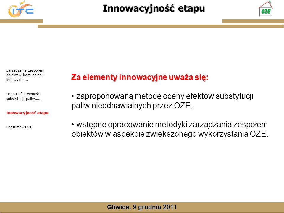 Gliwice, Lipiec 2008 Innowacyjność etapu Gliwice, 9 grudnia 2011 Zarzadzanie zespołem obiektów komunalno- bytowych…..
