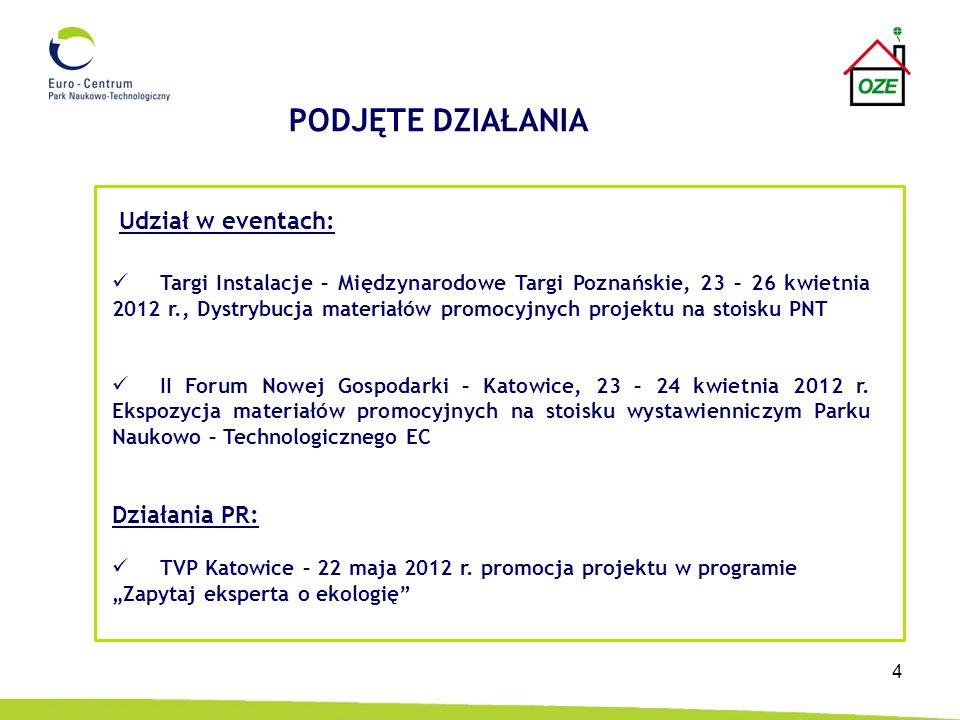 4 Targi Instalacje – Międzynarodowe Targi Poznańskie, 23 – 26 kwietnia 2012 r., Dystrybucja materiałów promocyjnych projektu na stoisku PNT II Forum N