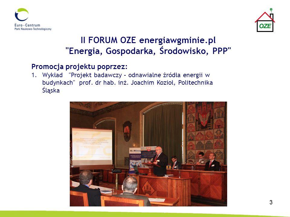 4 II FORUM OZE energiawgminie.pl Energia, Gospodarka, Środowisko, PPP 2.