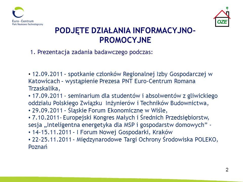 2 1. Prezentacja zadania badawczego podczas: 12.09.2011 – spotkanie członków Regionalnej Izby Gospodarczej w Katowicach – wystąpienie Prezesa PNT Euro