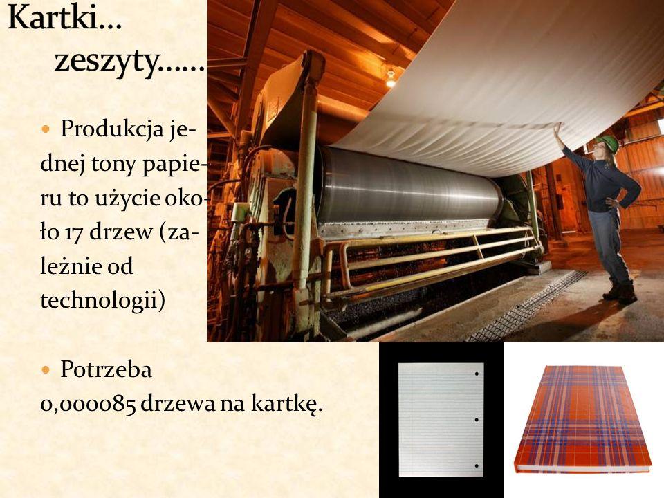 Produkcja je- dnej tony papie- ru to użycie oko- ło 17 drzew (za- leżnie od technologii) Potrzeba 0,000085 drzewa na kartkę.