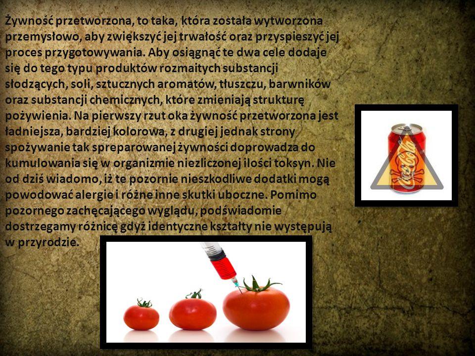 Żywność przetworzona, to taka, która została wytworzona przemysłowo, aby zwiększyć jej trwałość oraz przyspieszyć jej proces przygotowywania. Aby osią