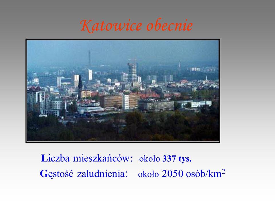 Katowice obecnie Liczba mieszkańców: około 337 tys. Gęstość zaludnienia : około 2050 osób/km 2