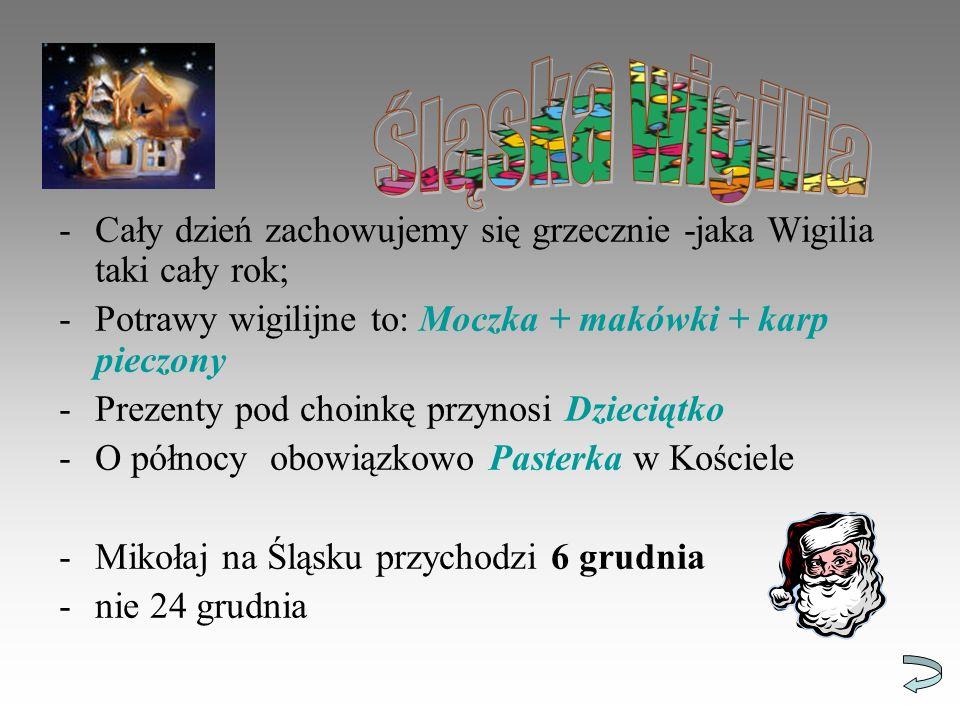 -Cały dzień zachowujemy się grzecznie -jaka Wigilia taki cały rok; -Potrawy wigilijne to: Moczka + makówki + karp pieczony -Prezenty pod choinkę przynosi Dzieciątko -O północy obowiązkowo Pasterka w Kościele -Mikołaj na Śląsku przychodzi 6 grudnia -nie 24 grudnia