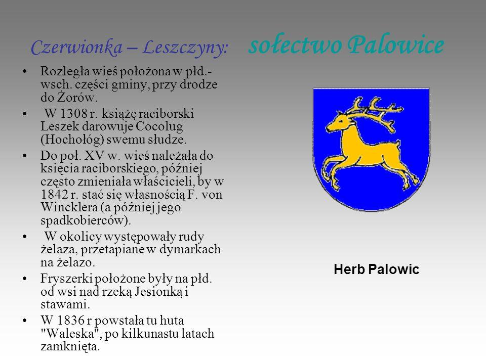 Czerwionka – Leszczyny: sołectwo Palowice Rozległa wieś położona w płd.- wsch.