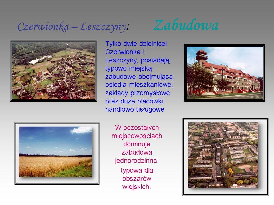 Czerwionka – Leszczyny : Zabudowa W pozostałych miejscowościach dominuje zabudowa jednorodzinna, typowa dla obszarów wiejskich.