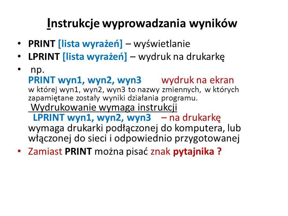 PRINT USING PRINT USING <wyrażenie wyświetla łańcuchy lub liczby z użyciem określonego formatu Jest to taki wariant instrukcji PRINT, który pozwala wyświetlać wyniki w równych słupkach o określonej ilości cyfr przed i po kropce dziesiętnej.