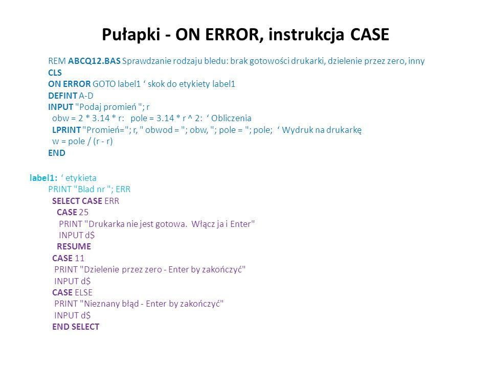 Obliczenie azymutu - ćwiartki Program az2.bas Obliczenie azymutu ze wspolrzednych - metoda czwartak ó w pi = 4.0*atn(1.0) Obliczenie Pi rg=200/pi Ro gradowe rs=180/pi Ro stopniowe Input x1 ;x1 : input y1 ; y1: input x2 ; x2: input y2 ; y2 dx=x2-x1 : dy=y2-y1 print dx= ;dx: print dy= ;dy if dx=0 then Warunek gdy DX=0 if dy> 0 then az = pi/2 else az=1.5*pi end if else Gdy DX <> 0 czw= atn(dy/dx) Obl.