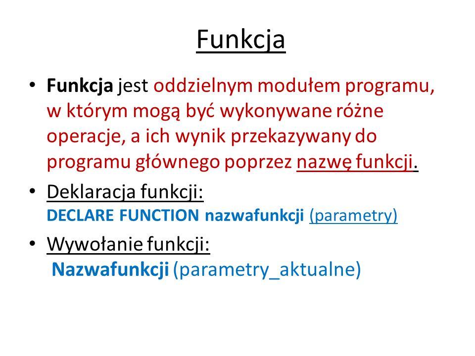 Przykład programu z funkcją sumprz(a, b, c) Przykład: obliczenie sumy długości przekątnych prostopadłościanu o danych krawędziach, z wykorzystaniem funkcji.