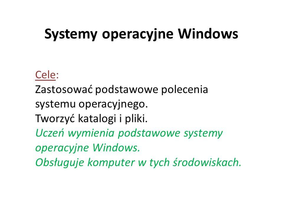 Systemy operacyjne Windows Cele: Zastosować podstawowe polecenia systemu operacyjnego. Tworzyć katalogi i pliki. Uczeń wymienia podstawowe systemy ope