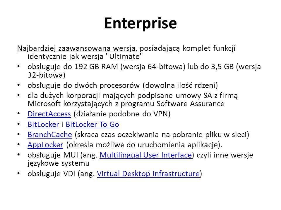 Enterprise Najbardziej zaawansowana wersja, posiadającą komplet funkcji identycznie jak wersja