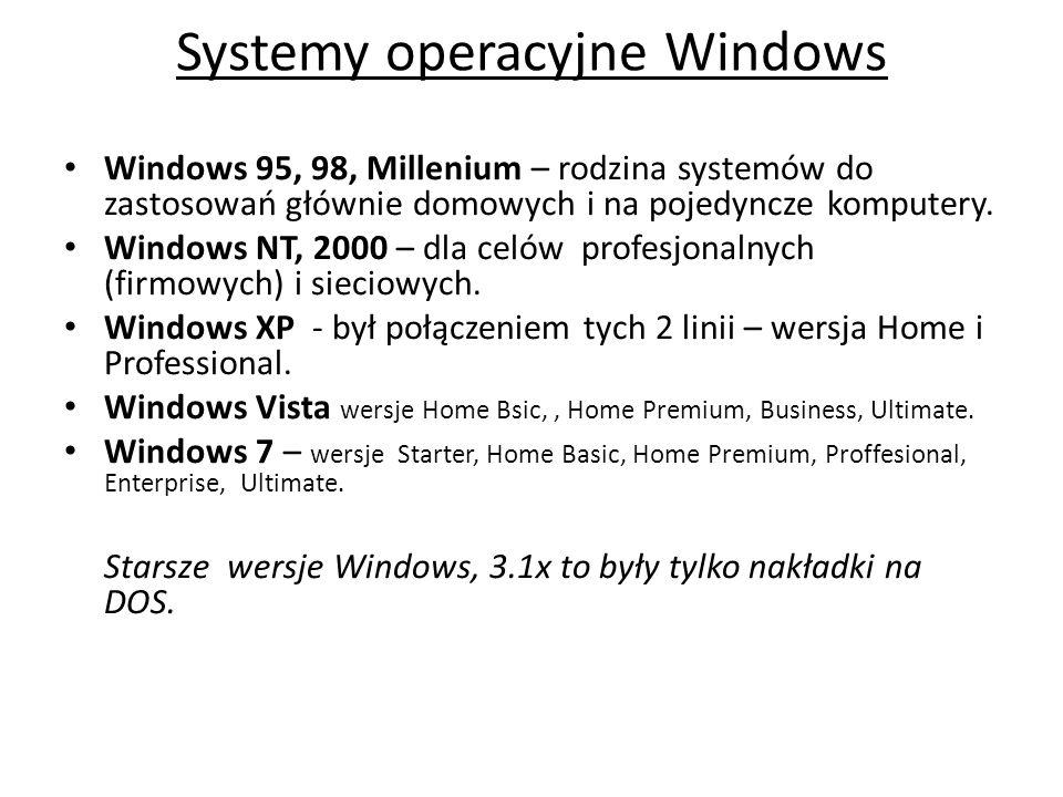 Systemy operacyjne Windows Windows 95, 98, Millenium – rodzina systemów do zastosowań głównie domowych i na pojedyncze komputery. Windows NT, 2000 – d