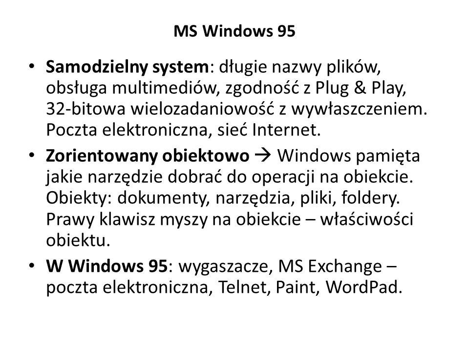 MS Windows 95 Samodzielny system: długie nazwy plików, obsługa multimediów, zgodność z Plug & Play, 32-bitowa wielozadaniowość z wywłaszczeniem. Poczt