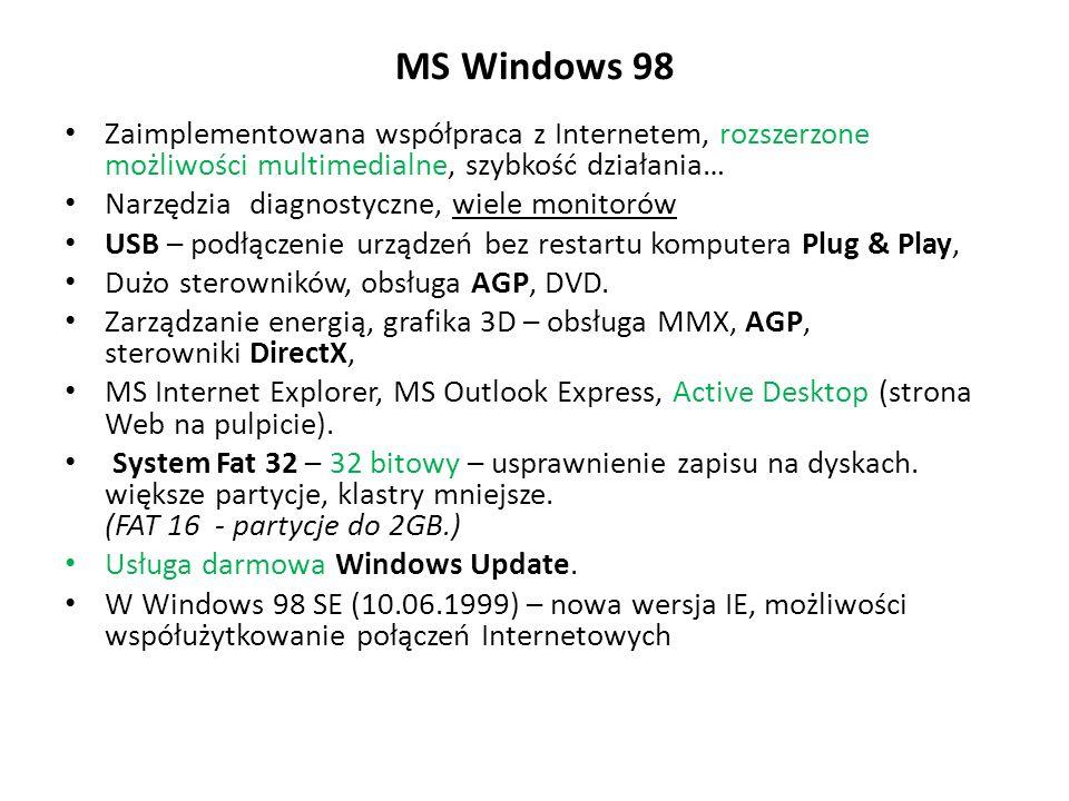 MS Windows 98 Zaimplementowana współpraca z Internetem, rozszerzone możliwości multimedialne, szybkość działania… Narzędzia diagnostyczne, wiele monit