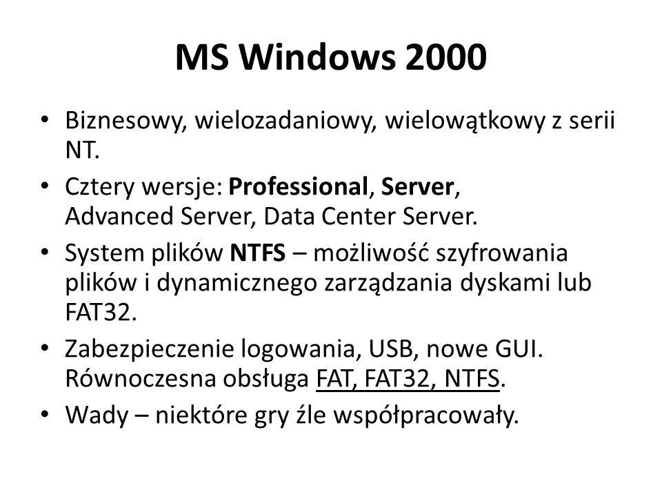 MS Windows 2000 Biznesowy, wielozadaniowy, wielowątkowy z serii NT. Cztery wersje: Professional, Server, Advanced Server, Data Center Server. System p