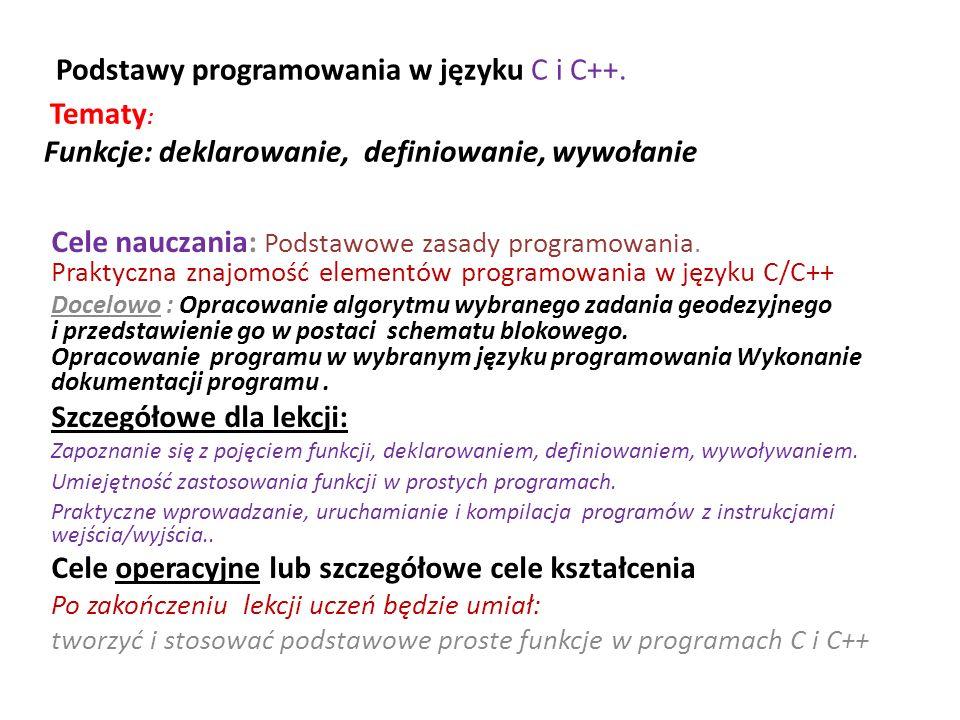Program do obliczenia azymutu z wykorzystaniem funkcji atan2(y,x) /* az_atan2 - obliczenie azymutu - instrukcja do…while */ #include #define PI 3.14159265 int main () { double x, y, result, az, d; int kont=1; puts( Obliczenie azymutu na podstawie funkcji atan2(dy,dx) ); puts( tan(Az)=DY/DX ); do { printf( \nWprowadz DX ); scanf( %lf , &x); printf( Wprowadz DY ); scanf( %lf , &y); printf( x=%f y=%f\n ,x,y); result = atan2 (y,x) * 200.0 / PI; az=result; if (result <0) az=result+400.0; d=sqrt(x*x+y*y); printf ( atan2 dla (DX=%lf, DY=%lf) = %lf[grad]\n , x, y, result); printf ( DX=%.3f DY=%.3f Az = %.4f[grad] Dl=%.3f\n , x, y, az, d ); printf( \n 1- obliczenia, 0 - koniec ); scanf( %d ,&kont); } while (kont != 0); return 0; }