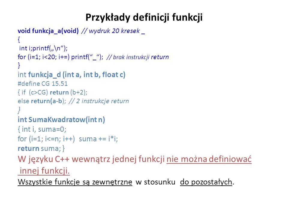 Przykłady definicji funkcji void funkcja_a(void) // wydruk 20 kresek _ { int i;printf(\n); for (i=1; i<20; i+=) printf(_); // brak instrukcji return }
