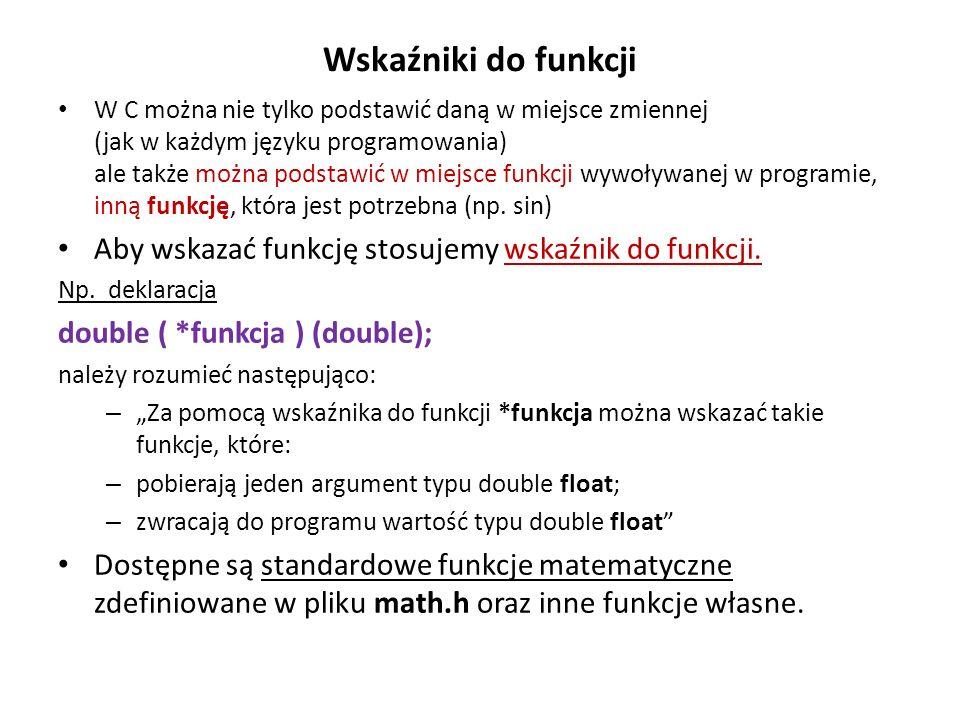 Wskaźniki do funkcji W C można nie tylko podstawić daną w miejsce zmiennej (jak w każdym języku programowania) ale także można podstawić w miejsce fun