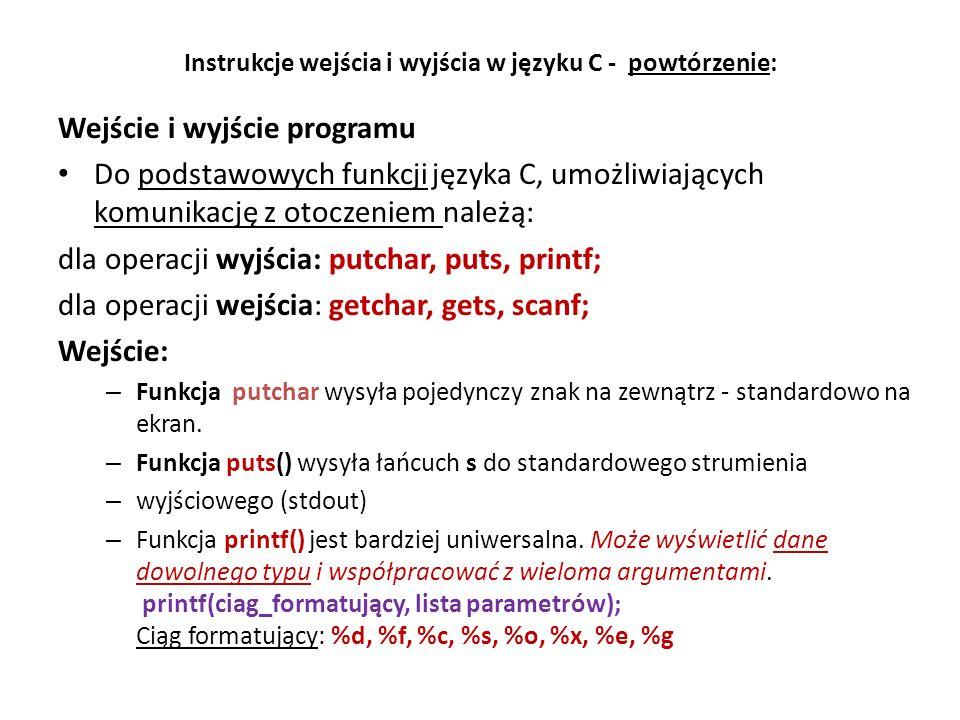 // Polafig1a.cpp - pola figur - funkcje, Dev C++ #include #include using namespace std; // Deklaracje funkcji float poleprostokata(); float poletrojkata(); float polekola(); // Funkcja glowna int main () { float x, y, pole; int decyzja; cout << Obliczenie pole figur - funkcje << endl; cout << \nPodaj nr figury lub 0 - koniec obliczen: \n ; cout << 0 - wyjście z programu << endl; cout << 1 - prostokat: a b << endl; cout << 2 - trojkat: a h << endl; cout << 3 - kolo: r << endl; do cin >> decyzja; while (!((decyzja >=0) && (decyzja<=3))); switch (decyzja) case 1: pole = poleprostokata(); break; case 2: pole = poletrojkata(); break; case 3: pole = polekola(); break; default: cout << Koniec programu << endl; pole = 0; } cout << endl; getch(); return 0; } // Definicje funkcji float poleprostokata() { float a, b, p; cout ; cin >> a >> b; p=a*b; cout << Pole prostokata wynosi: << p << endl; return(p); } float poletrojkata() { float a, h, p; cout ; cin >> a >> h; p=0.5*a*h; cout << Pole trojkata wynosi: << p << endl; return(p); } float polekola() { float r, p; cout ; cin >> r; p=M_PI*r*r; cout << M_PI= << M_PI << ; cout << Pole kola wynosi: << p << endl; return(p); } Program do obliczenia pola figur - funkcje