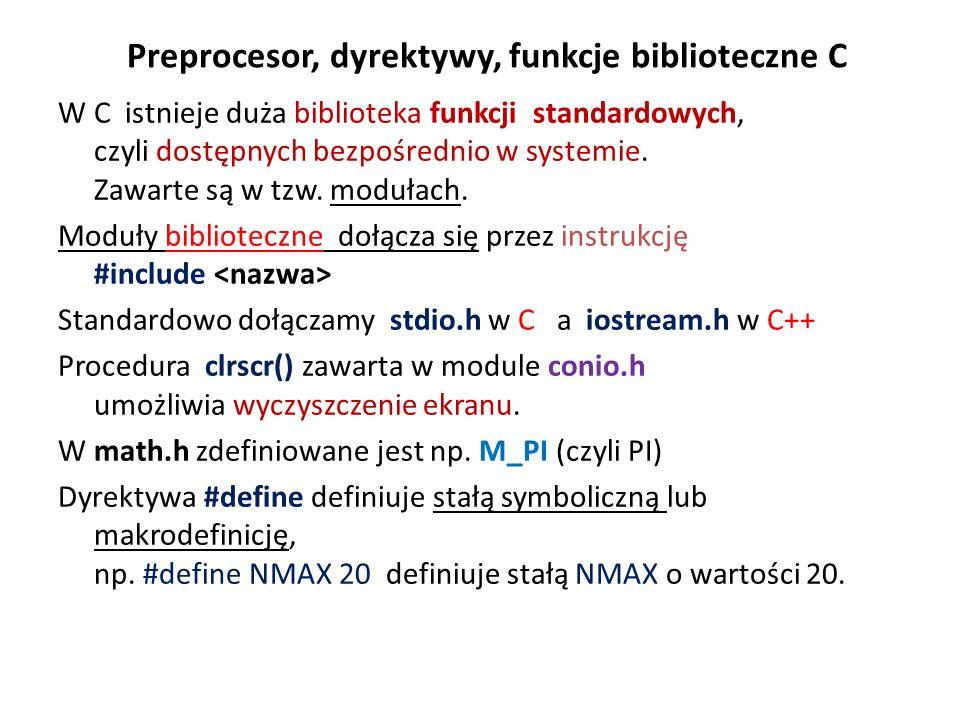 Preprocesor, dyrektywy, funkcje biblioteczne C W C istnieje duża biblioteka funkcji standardowych, czyli dostępnych bezpośrednio w systemie. Zawarte s