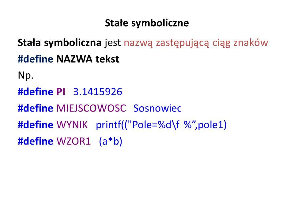 Przykładowy program ze zmienną globalną liczba // zmglob.cpp - zmienna globalne i jej wykorzystanie w funkcji zamiast argumentów #include #include using namespace std; int liczba = 10; // zmienna globalna int test(); int main (int argc, char *argv[]) { cout << 1) Wartość zmiennej liczba wewnątrz main(): << liczba << endl; liczba = 40; cout << 2) Nowa wartość zmiennej liczba wewnątrz main: << liczba << endl; int liczba2 = 0; liczba2 = test(); cout << 4) Wartość przypisana do zmiennej liczba2: << liczba2 << endl; system( PAUSE ); return EXIT_SUCCESS; } int test() { cout << (3) Wartosc zmiennej liczba wewnatrz funkcji test: << liczba << endl; return ++liczba; } Wyniki: 1) Wartość zmiennej liczba wewnątrz main: 10 2) Nowa wartość zmiennej liczba wewnątrz main: 40 (3) Wartość zmiennej liczba wewnątrz funkcji test: 40 4) Wartość przypisana do zmiennej liczba2: 41 Należy ograniczać korzystanie z funkcji globalnych do minimum – do takich sytuacji, gdzie zmienna globalna jest wykorzystywana przez większość funkcji a jej wartość nie jest zmieniana.