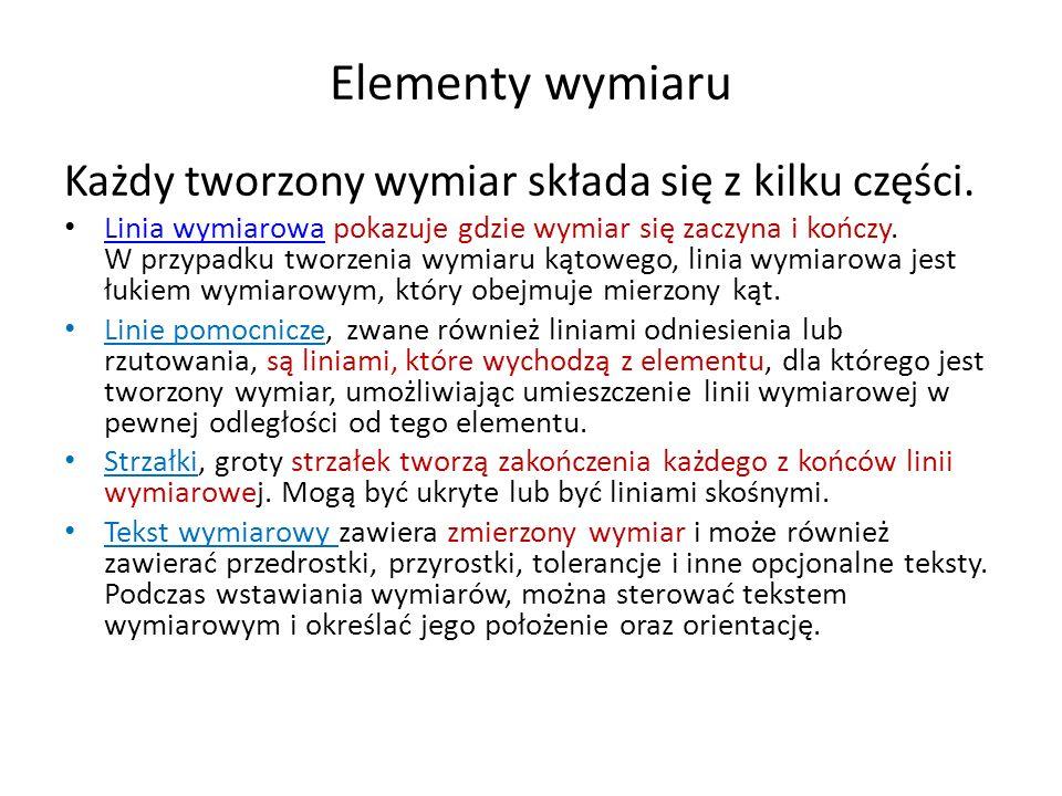 Elementy wymiaru Każdy tworzony wymiar składa się z kilku części. Linia wymiarowa pokazuje gdzie wymiar się zaczyna i kończy. W przypadku tworzenia wy