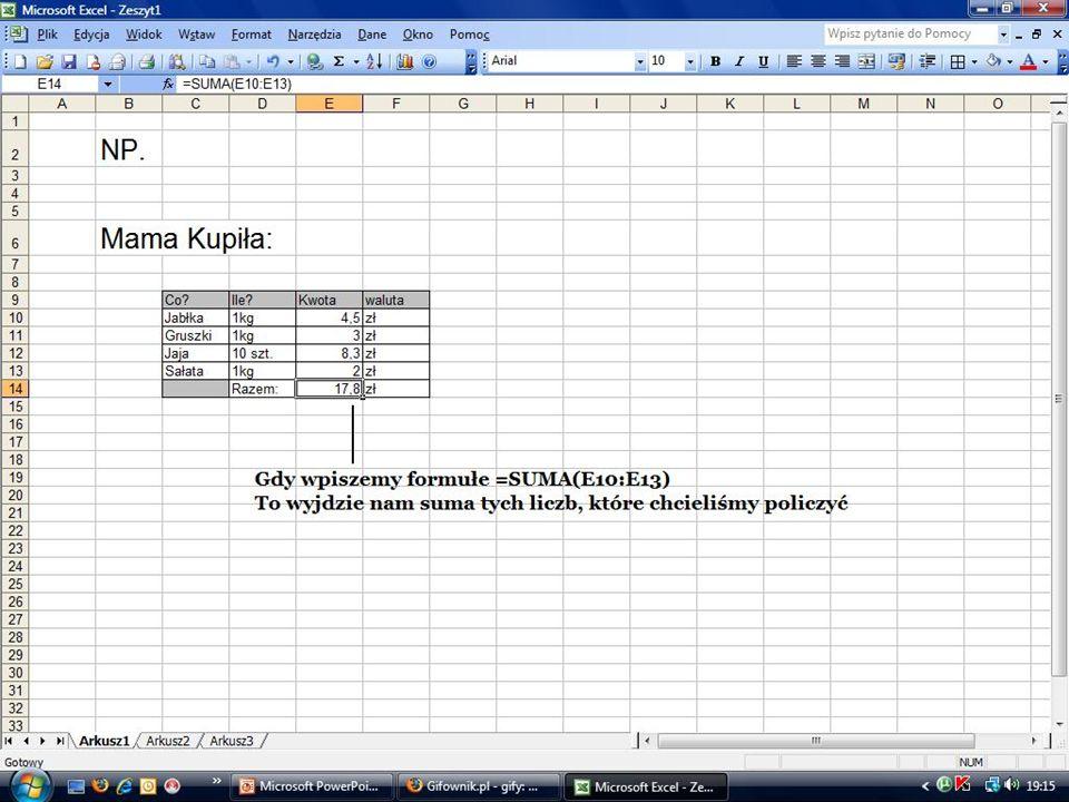 WYKRESY Arkusz kalkulacyjny umożliwia graficzną prezentację danych, czyli tworzenie wykresów.