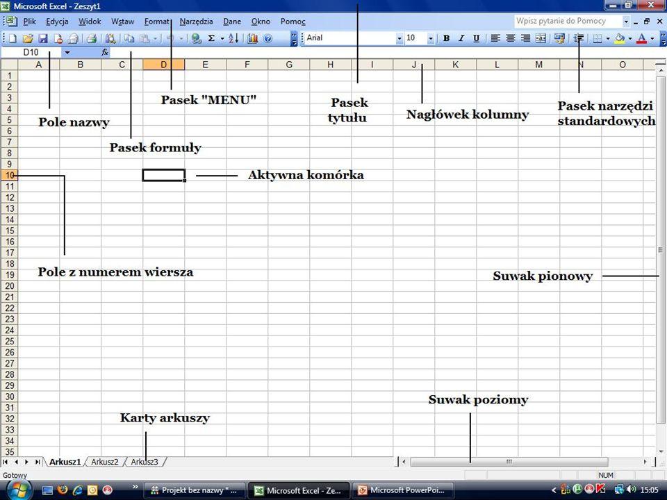 Funkcje i formuły w programie EXCEL Duża funkcjonalność arkuszy kalkulacyjnych tkwi w możliwości przetwarzania danych za pomocą dostępnych funkcji oraz tworzenia na ich podstawie dowolnych formułach.