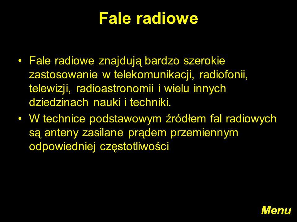 Fale radiowe Fale radiowe znajdują bardzo szerokie zastosowanie w telekomunikacji, radiofonii, telewizji, radioastronomii i wielu innych dziedzinach n