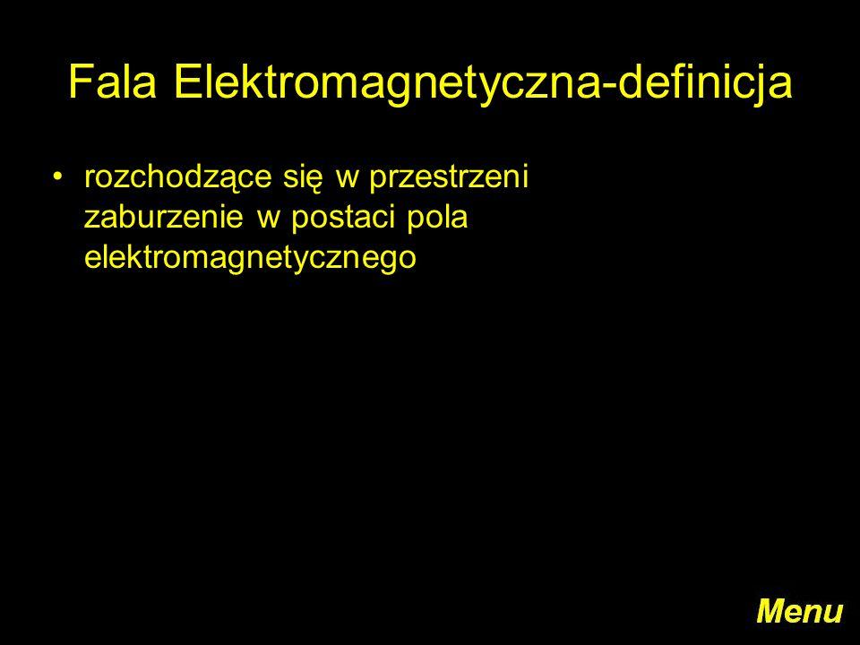 Fala Elektromagnetyczna-definicja rozchodzące się w przestrzeni zaburzenie w postaci pola elektromagnetycznego