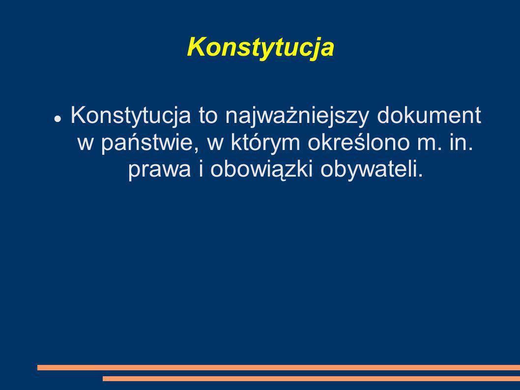 Konstytucja Konstytucja to najważniejszy dokument w państwie, w którym określono m. in. prawa i obowiązki obywateli.