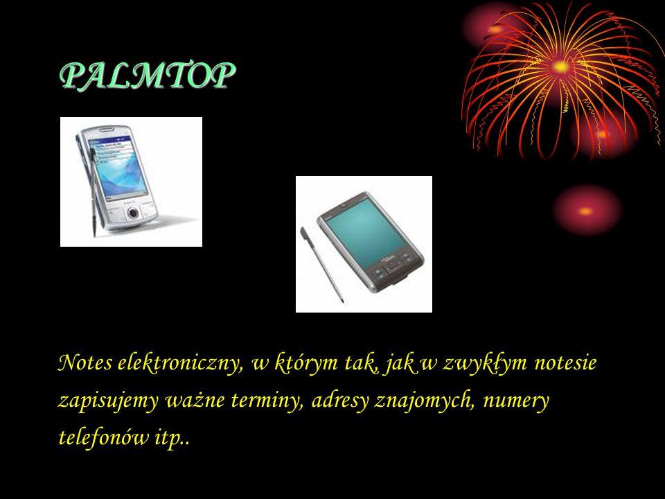 PALMTOP Notes elektroniczny, w którym tak, jak w zwykłym notesie zapisujemy ważne terminy, adresy znajomych, numery telefonów itp..