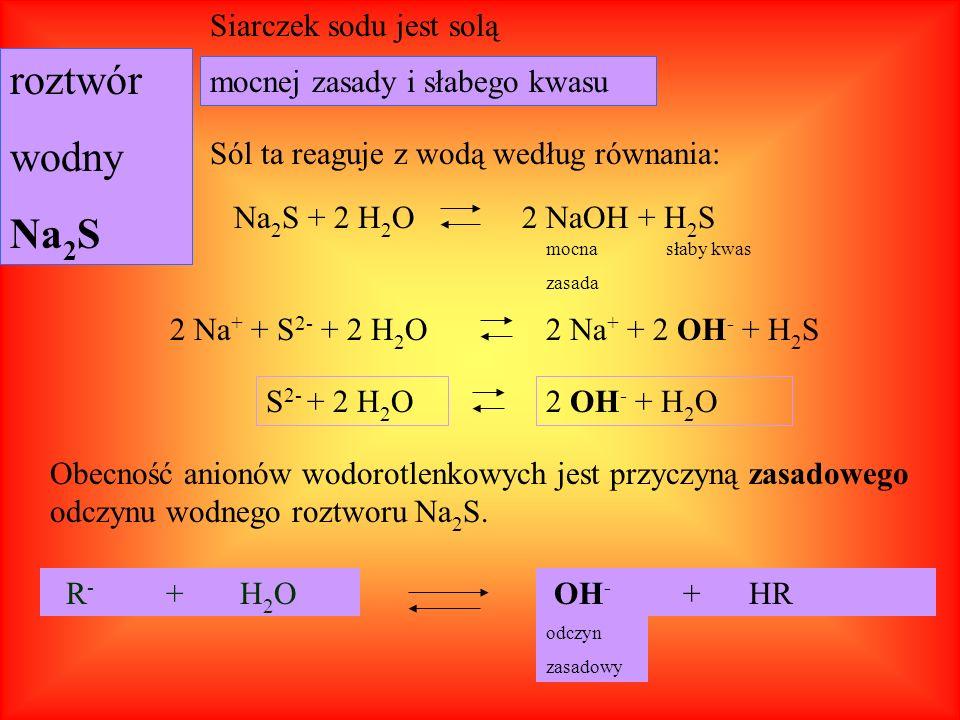 Sole mocnych kwasów i mocnych zasad nie ulegają procesowi hydrolizy.