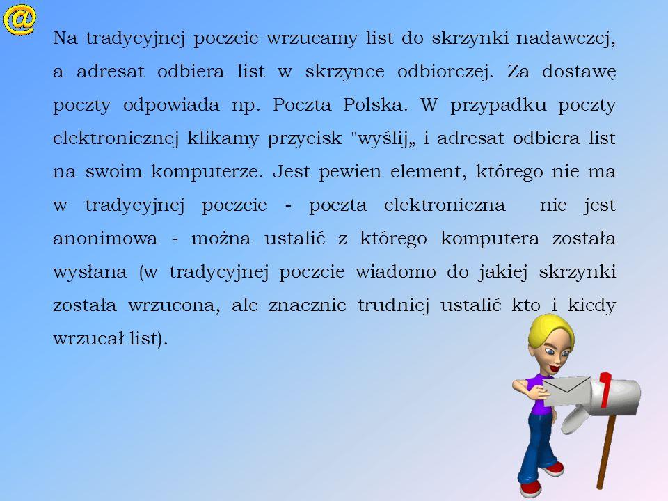 Na tradycyjnej poczcie wrzucamy list do skrzynki nadawczej, a adresat odbiera list w skrzynce odbiorczej. Za dostawę poczty odpowiada np. Poczta Polsk