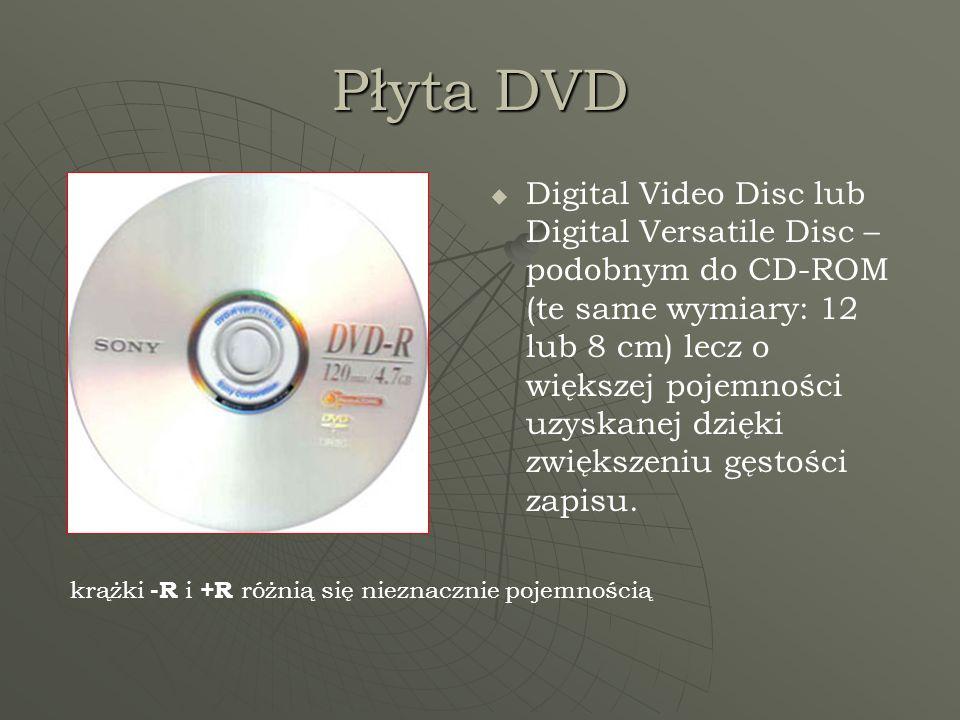 Płyta DVD Digital Video Disc lub Digital Versatile Disc – podobnym do CD-ROM (te same wymiary: 12 lub 8 cm) lecz o większej pojemności uzyskanej dzięk