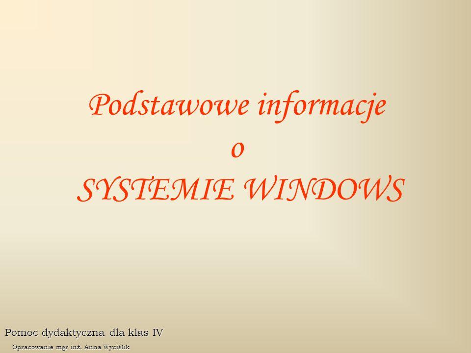 Podstawowe informacje o SYSTEMIE WINDOWS Pomoc dydaktyczna dla klas IV Opracowanie mgr inż. Anna Wyciślik