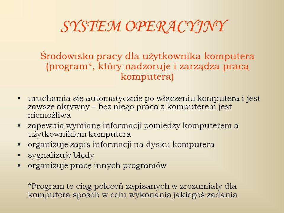 SYSTEM OPERACYJNY Środowisko pracy dla użytkownika komputera (program*, który nadzoruje i zarządza pracą komputera) uruchamia się automatycznie po włą