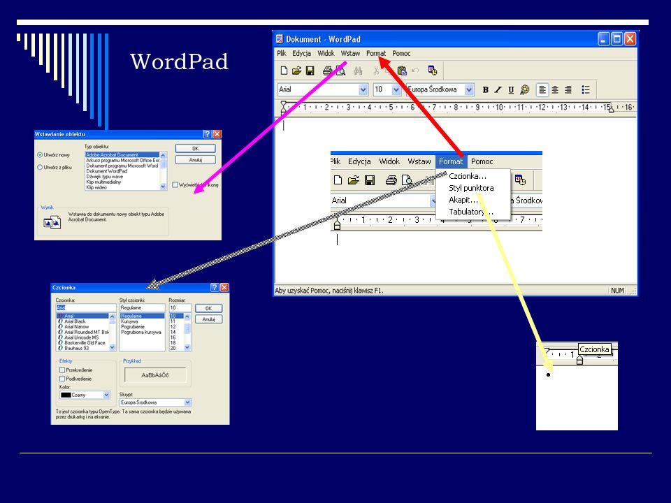 Microsoft Word Obszar roboczy Linijka PASEK NARZĘDZI Narzędzia formatowania tekstu Kursor tekstowy PASEK STANU PASEK MENU Przewijanie zawartości okna