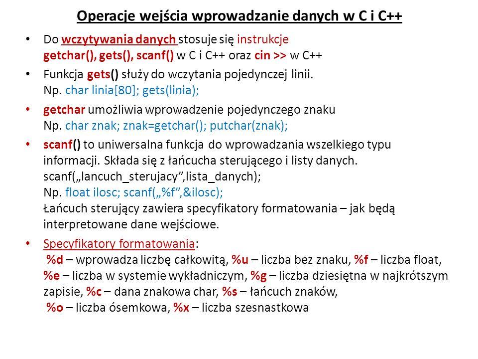 Operacje wejścia wprowadzanie danych w C i C++ Do wczytywania danych stosuje się instrukcje getchar(), gets(), scanf() w C i C++ oraz cin >> w C++ Fun