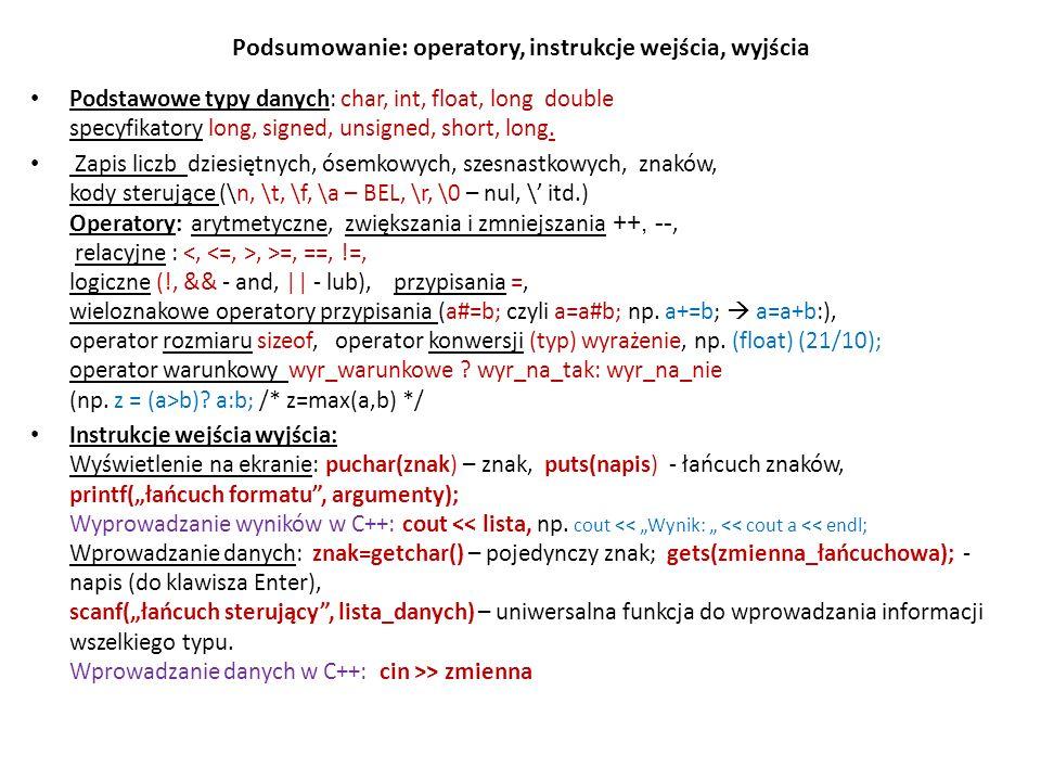 Podsumowanie: operatory, instrukcje wejścia, wyjścia Podstawowe typy danych: char, int, float, long double specyfikatory long, signed, unsigned, short