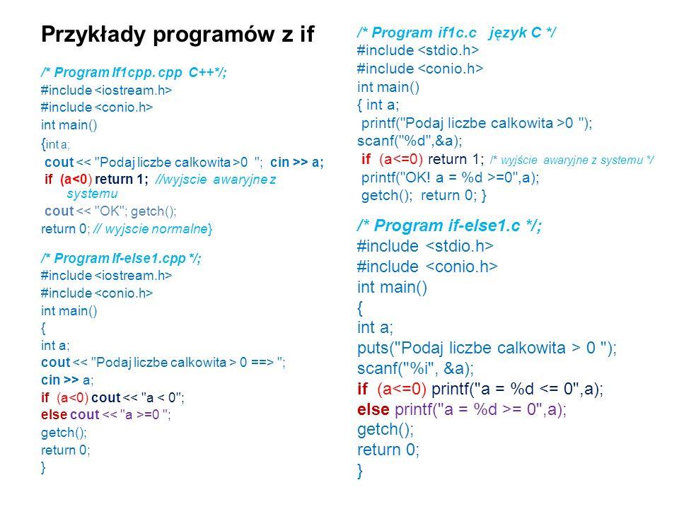 Przykłady programów z if /* Program If1cpp.