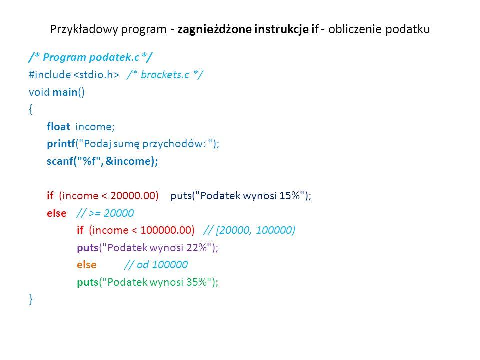 Przykładowy program - zagnieżdżone instrukcje if - obliczenie podatku /* Program podatek.c */ #include /* brackets.c */ void main() { float income; printf( Podaj sumę przychodów: ); scanf( %f , &income); if (income < 20000.00) puts( Podatek wynosi 15% ); else // >= 20000 if (income < 100000.00) // [20000, 100000) puts( Podatek wynosi 22% ); else // od 100000 puts( Podatek wynosi 35% ); }
