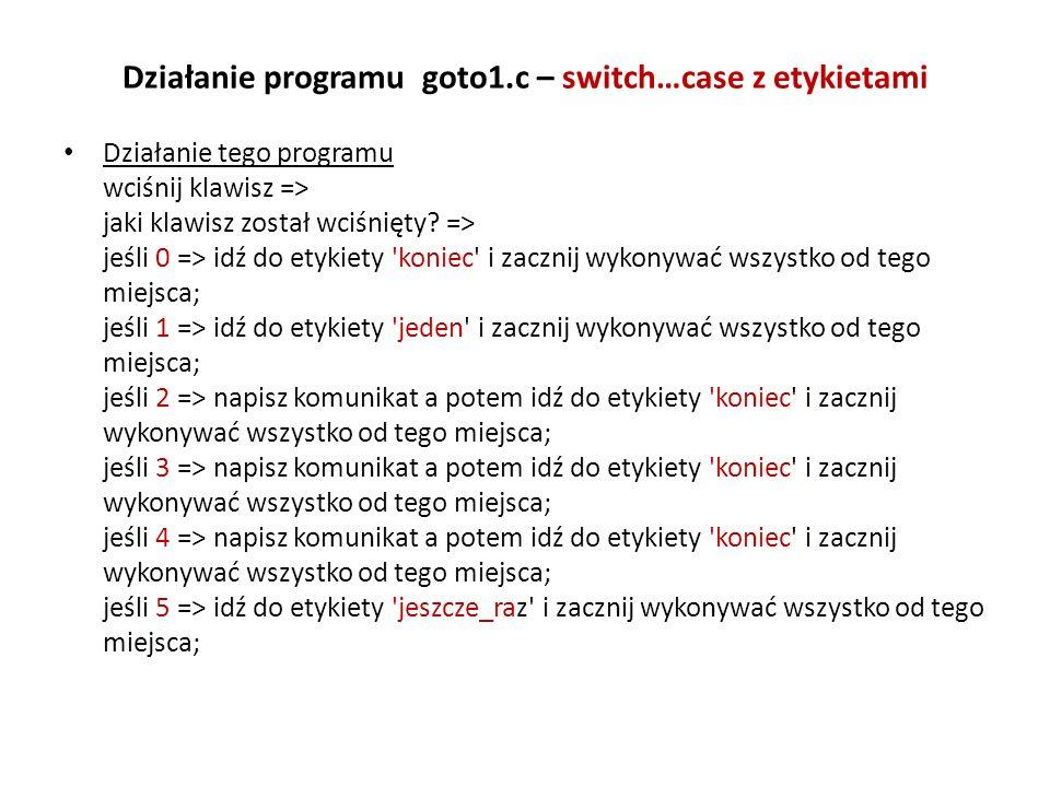 Działanie programu goto1.c – switch…case z etykietami Działanie tego programu wciśnij klawisz => jaki klawisz został wciśnięty? => jeśli 0 => idź do e