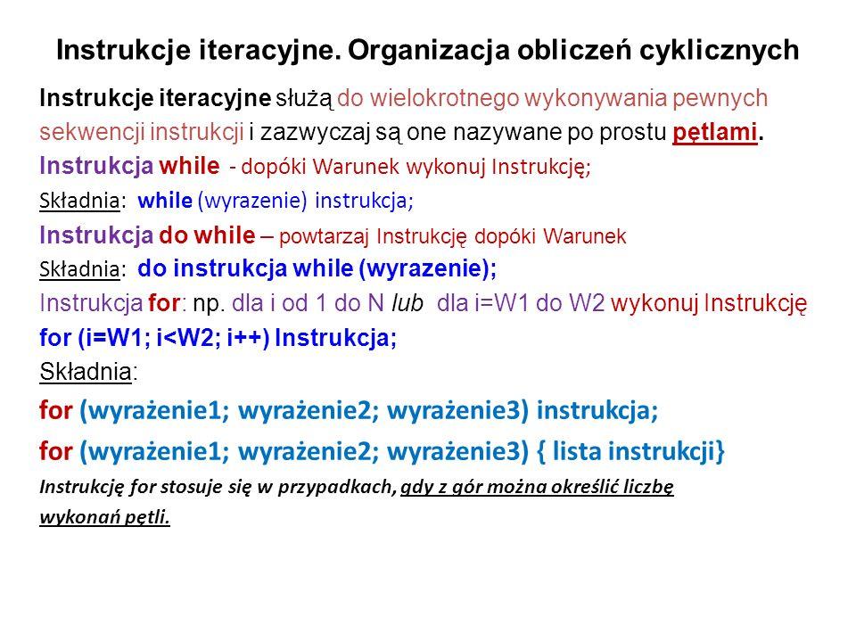 Instrukcje iteracyjne. Organizacja obliczeń cyklicznych Instrukcje iteracyjne służą do wielokrotnego wykonywania pewnych sekwencji instrukcji i zazwyc