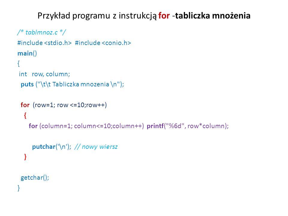 Przykład programu z instrukcją for -tabliczka mnożenia /* tablmnoz.c */ #include #include main() { int row, column; puts ( \t\t Tabliczka mnozenia \n ); for (row=1; row <=10;row++) { for (column=1; column<=10;column++) printf( %6d , row*column); putchar( \n ); // nowy wiersz } getchar(); }